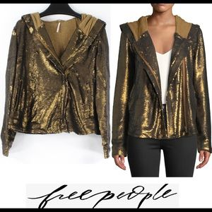 FREE PEOPLE $268 Terracotta Sequin Hooded Jacket